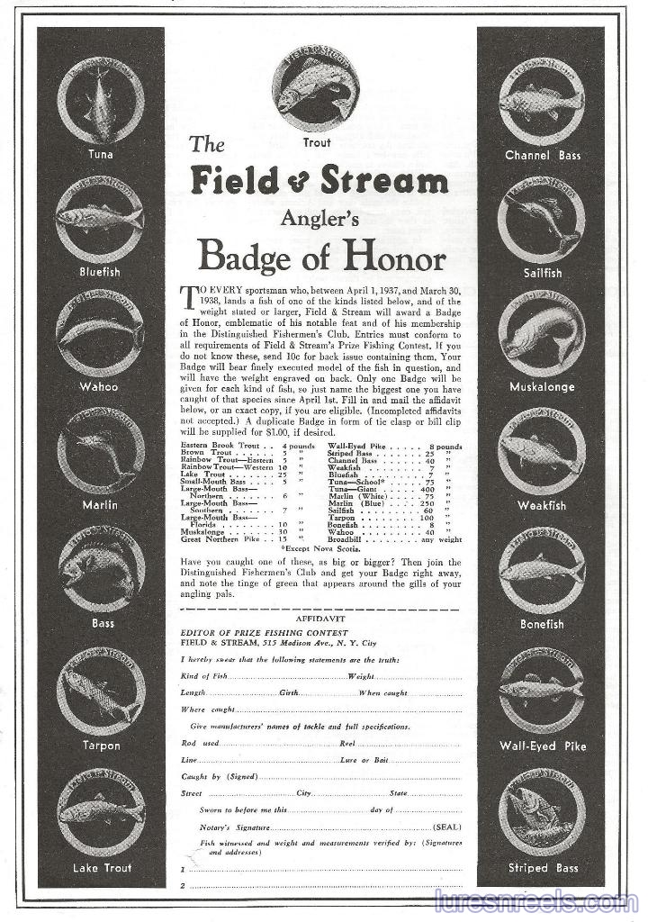 Field & Stream Award Pins and Honor Badges