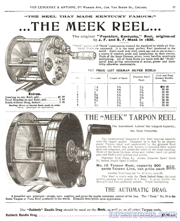B F Meek and Sons Reels in 1904 VLA Catalog