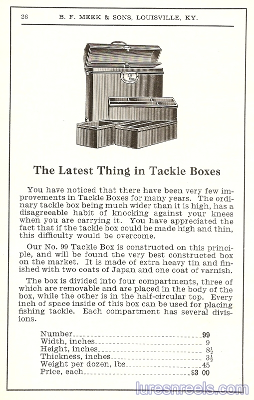 B F Meek and Sons Tackle Box Ad