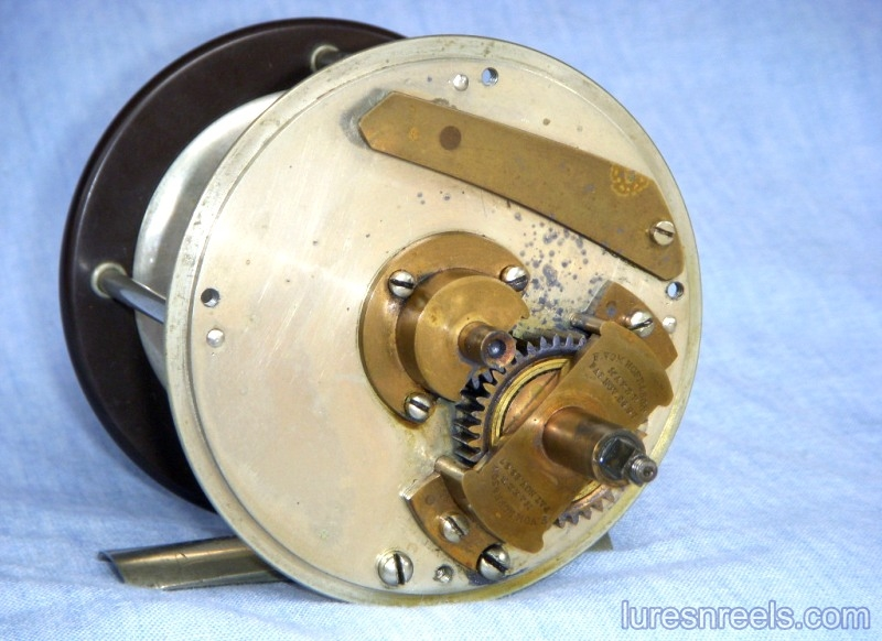 F vom HOFE Reel with 1867 Patent Date on Gear Bridge 2