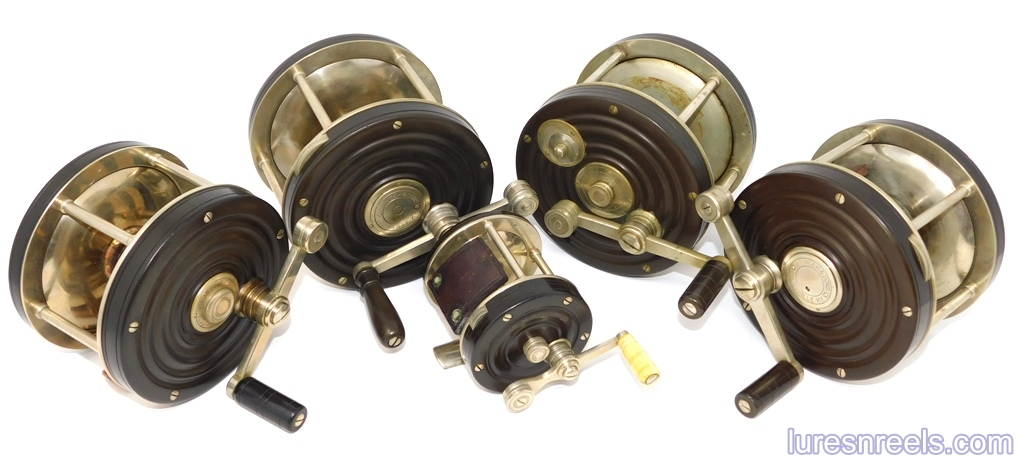 The B F MEEK and SONS German Silver and Hard Rubber Reels