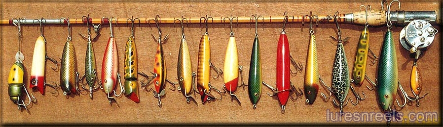 Antique fishing lures reels tackle information site for American fishing tackle company