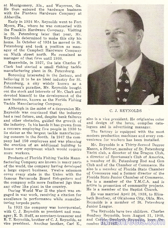 JACK REYNOLDS Featured in Karl Grismers 1948 Book - The Story of St. Petersburg 2