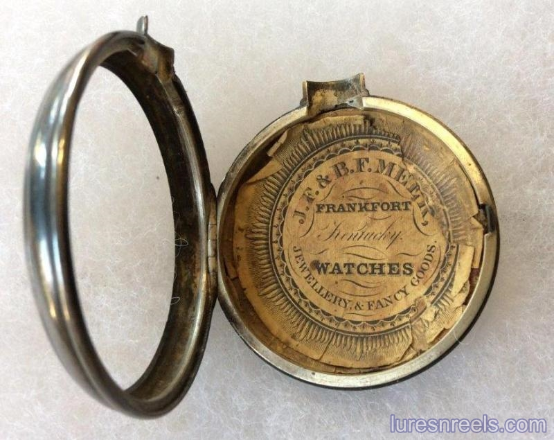 Pocket Watch Containing J F - B F MEEK Advertising Insert Inside Case 2